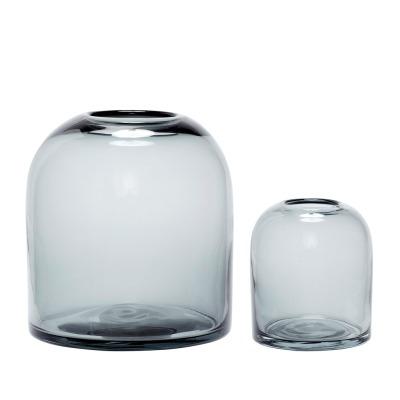 Vase Glas rauchfarbend 2er Set von