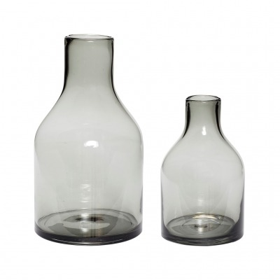 Vase, Glas, rauchfarbend, 2er Set - von HÜBSCH