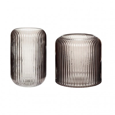 Vase Glas rauchfarben 2er Set von