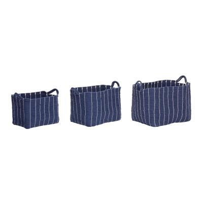 Korb mit Henkeln, Baumwolle, blau, 3er Set - von HÜBSCH