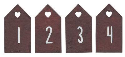 kleines Zahlenset 1-4 aus Holz rot