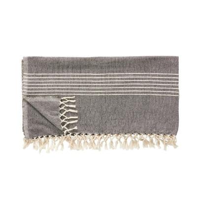 Hübsch Plaid m.Streifen, dunkelgrau/cremeweiß - Baumwolle 140 x 200 cm