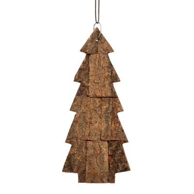 Hübsch Weihnachsbaum mit Band, Borke, natur, groß - 10x6xh22cm