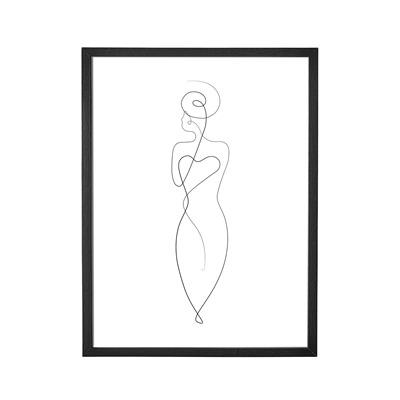 Bild mit Rahmen schwarz Frau von