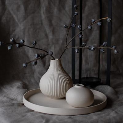 rundes Keramiktablett beige Grimshult matt von