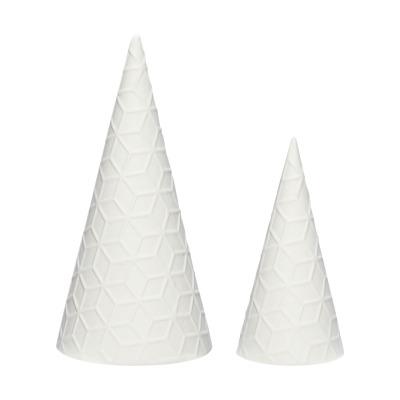 Hübsch Weihnachtsbaum Porzellan weiß 2er Set
