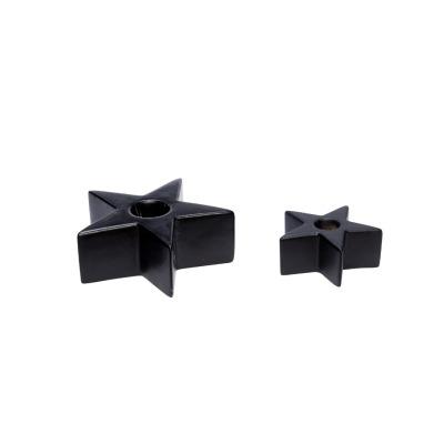 Hübsch Kerzenständer Stern schwarz 2er Set