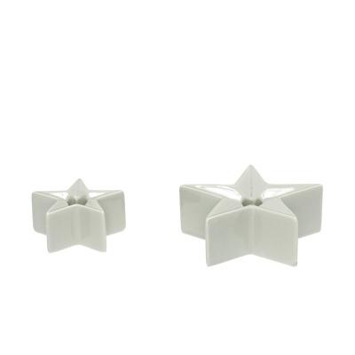 Hübsch Kerzenständer Stern grau 2er Set