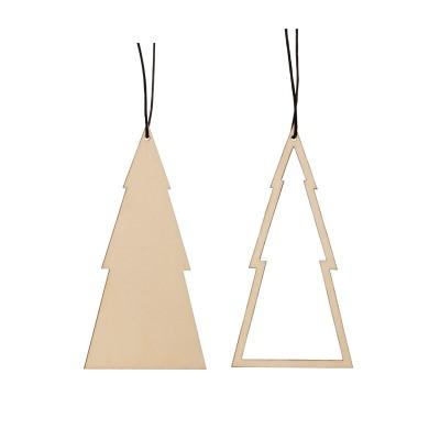 Hübsch Christbaumornament Holz natur 2er Set