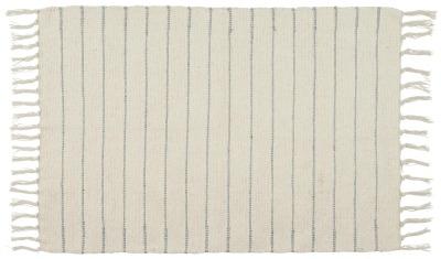 Bodenmatte creme mit hellblauen Streifen Ib