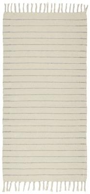 lange Bodenmatte creme mit hellblauen Streifen