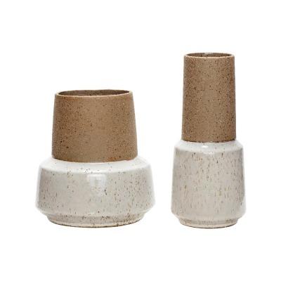 2er Vasenset Keramik/Stand in sand/weiß von