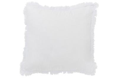 Kissen Fransen weiß aus Leinen inkl