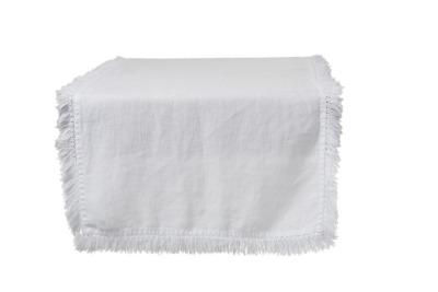 Tischläufer Fransen weiß aus Leinen 150x45cm
