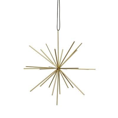 Hübsch Stern mit Lederband, metall, gold, groß - 27cm