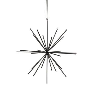 Hübsch Stern mit Lederband, metall, schwarz, groß - 27cm