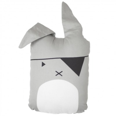 Tierkissen - pirate bunny - grau