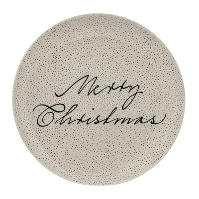 Snow Plate weiss rund Merry Christmas-