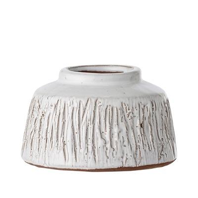 Dekovase weiß terracotta breit flach von