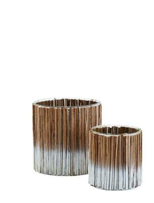 2er Set Windlichter mit Holzstäben weiß/natur