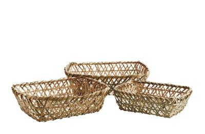 3er Set rechteckige Flechtkörbe aus Bambus
