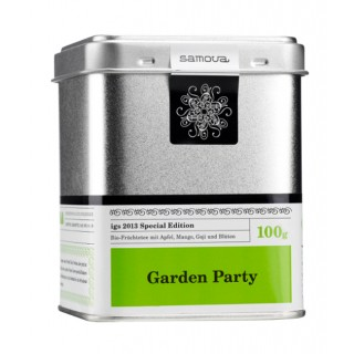 samova Tee Garden Party Dose, 100g - Bio-Früchtetee - Mit Apfel, Mango, Goji und Blüten
