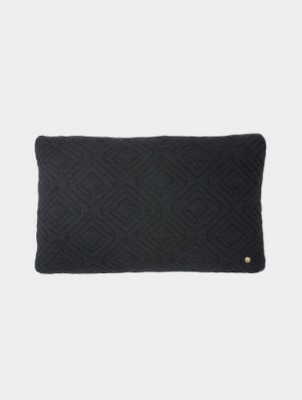 Kissen - Quilt Cushion - dark grey - 40x25cm - von Ferm Living