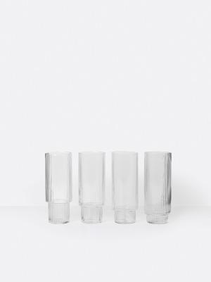 Ripple Longdrinkglas 4er Set - von Ferm Living