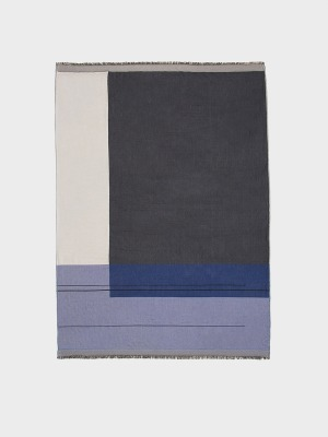 Baumwolldecke Colour Block Throw Blue von