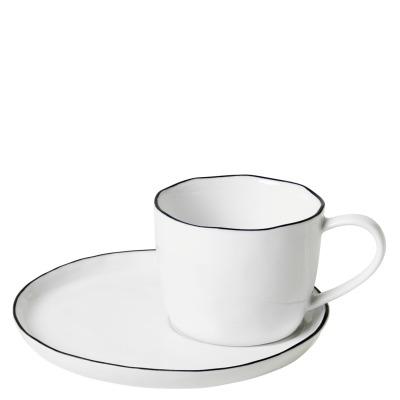 Tasse mit Untertasse Salt - weiß mit schwarzem Rand