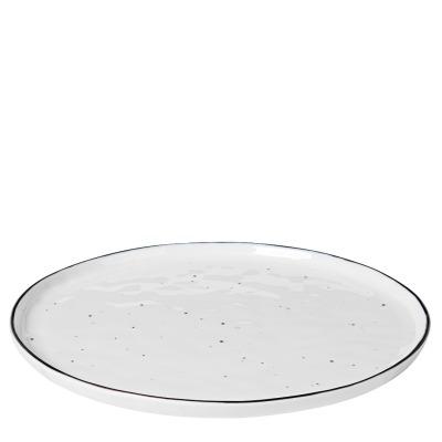 Speiseteller Salt - weiß mit schwarzem Rand und Punkten