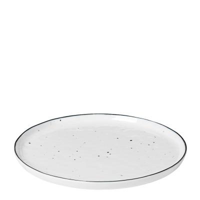 Brotzeitteller Salt - weiß mit schwarzem Rand und Punkten