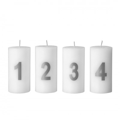 4er Set Adventskerze weiß mit silbernem