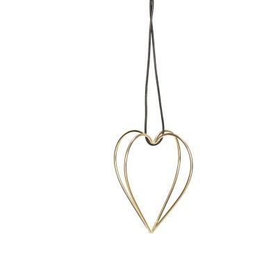 Hübsch Herz mit Band, Metall, gold - 9xh11cm