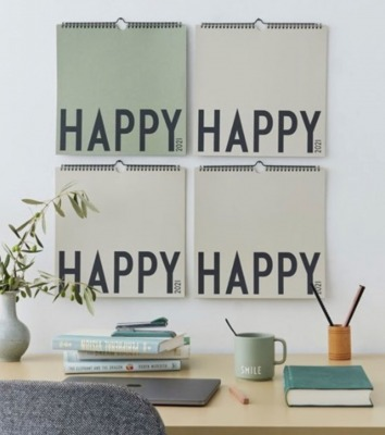 Wandkalender Happy cool grey beige 30x30cm