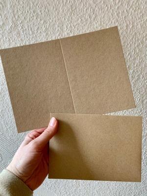 blanko Klappkarten mit Umschlag aus Kraftpapier