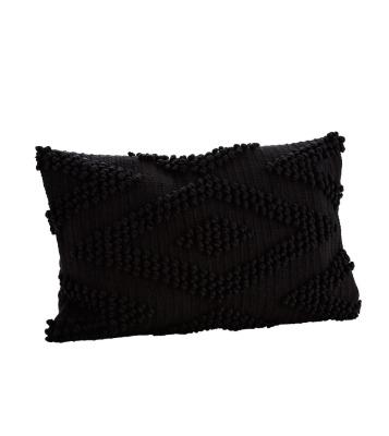 Baumwollkissenbezug schwarz 40x60 cm mit geknüpftem