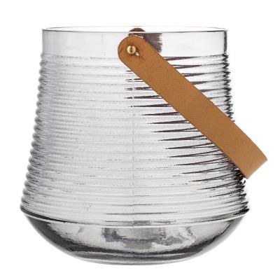 große Laterne aus Glas grau mit
