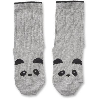 Baumwollsocken Panda - grau melange