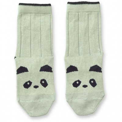 Baumwollsocken Panda - dusty mint
