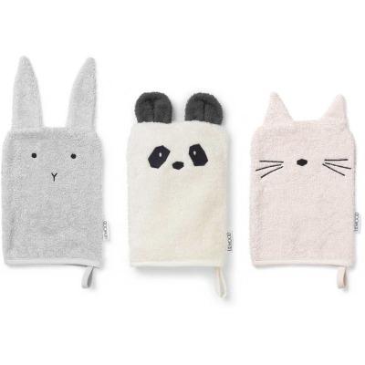 Waschtücher Hase, Panda, Katze - 3er Set Girlie