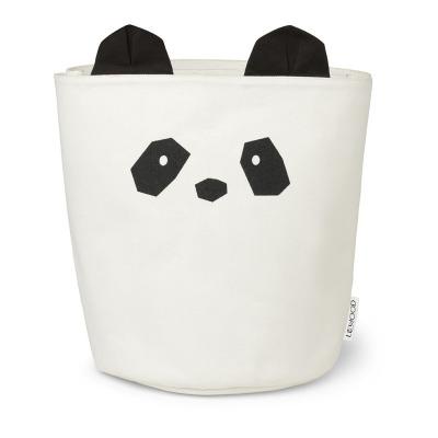 Stoff Korb Panda - creme