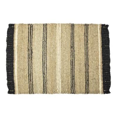Teppich aus Seegras natur schwarz creme