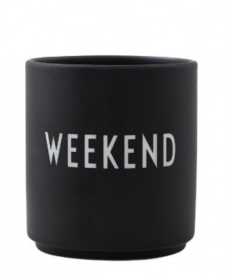 Porzellanbecher WEEKEND schwarz - Design Letters