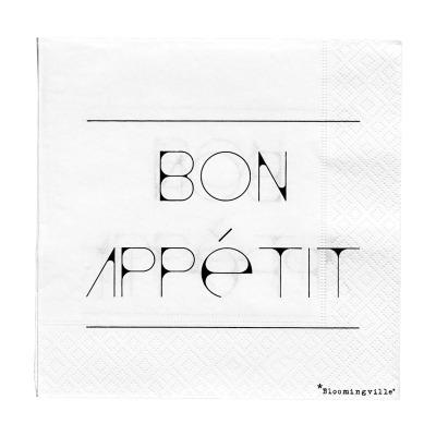 Serviette Bon Appétit - weiß