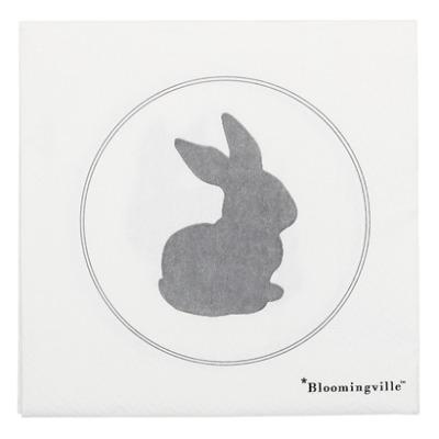 Serviette Osterhase , weiss, Papier, 20 Stk - von Bloomingville