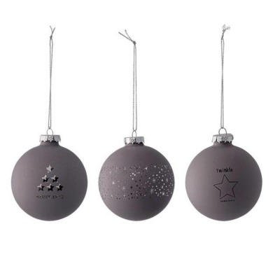 Ornament, grau 3er Set - 8cm