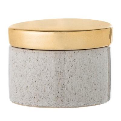 Keramikdose mit Golddeckel - natur