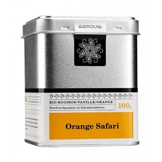samova Tee Orange Safari Dose, 100g - Bio-Rooibos/Vanille/Orange - Teeinfreie Spezialität mit Saflorblättern