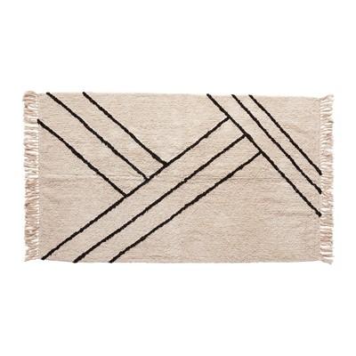 Teppich von Hübsch Baumwolle weiß/schwarz 180cm